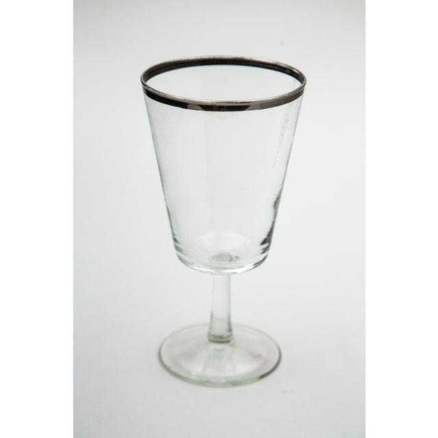 Modern Silver Rim Glass Goblets - Set of 6 - Image 5 of 5