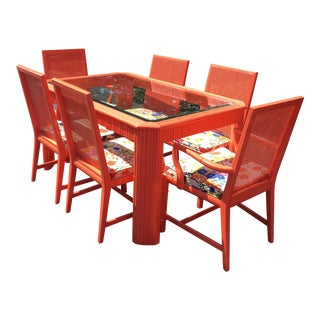 Century 1970s Glass Top Dining Table & 6 Chairs Set