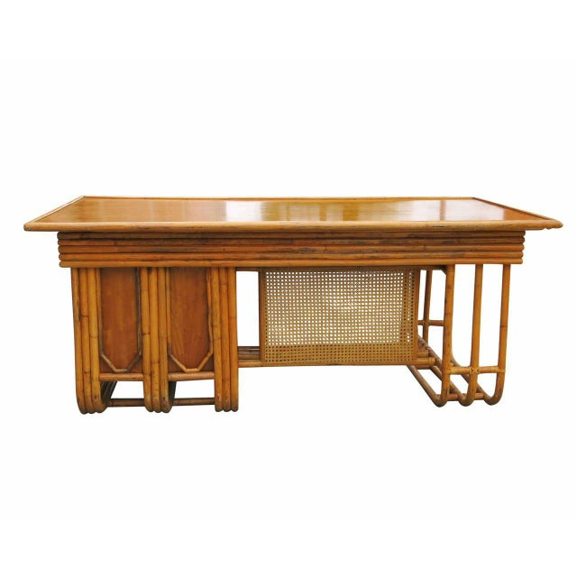 Restored Large Jean Royère Style Streamline Rattan Executive Desk - Image 6 of 8