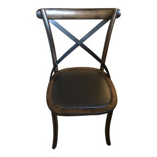 Wood & Metal Criss Cross Back Side Chair