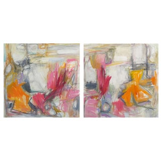 """""""Campfire"""" Large Abstract Paintings by Trixie Pitts - A Pair"""