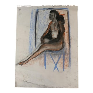 Rita Shulak -Sitting Black Woman - Sketch Painting-Pastel