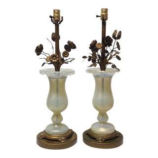 Handblown Original Murano Glass Lamps with Brass Flowers - A Pair
