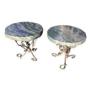Verdi Alpi Marble Side Tables - A Pair