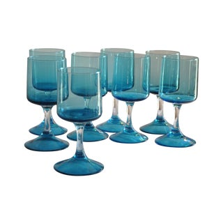 Aqua  1970's Stemware - Set of 8