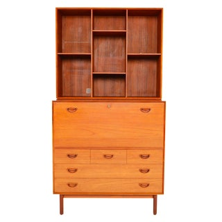 Modular Peter Hvidt Secretary with Bookcase Hutch