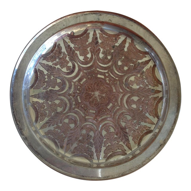 Vintage Moroccan Engraved Patterned Tray - Image 1 of 9