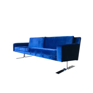 Vintage Blue Velvet & Chrome Sofa.