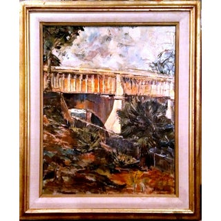 """""""Bridge #1"""" Post-Impressionist Oil Painting by G. Andrew"""