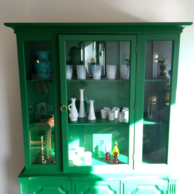 Painted Kelly Green China Hutch - Image 5 of 5