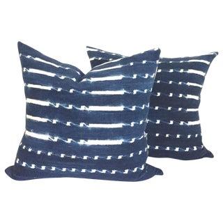 Vintage Indigo Batik Pillows - Pair