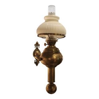 Antique English Kerosene Wall Lamp