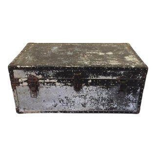Vintage Metal Trunk With Tray