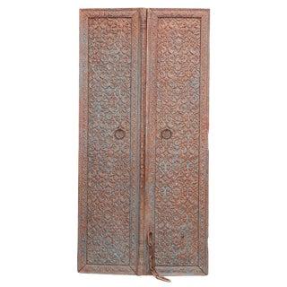 Aged Blue Floral Carved Doors