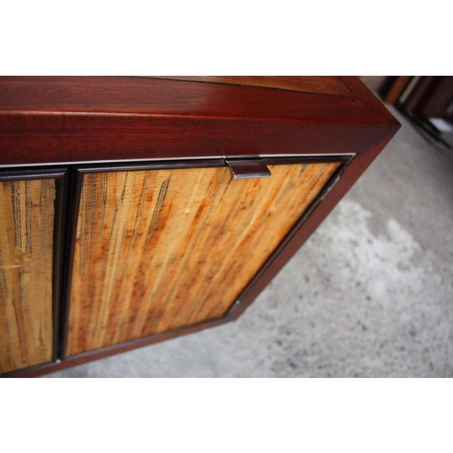 Image of 1970s Walnut, Bamboo and Cherry Credenza after Harvey Probber