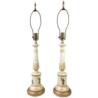 Neoclassical Italian Porcelain Lamps - A Pair
