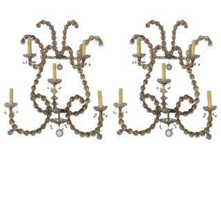 A Pair of Oversized Gilt Iron & Crystal Sconces, Jansen