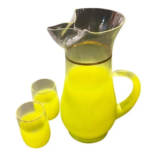 Vintage Yellow Blendo Pitcher & Glasses - Set of 3