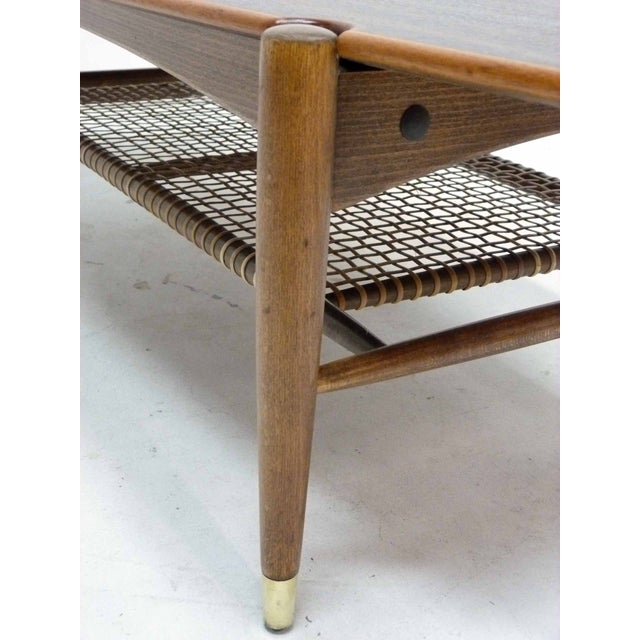 Dux Mid-Century Coffee Table with Cane Shelf - Image 6 of 10