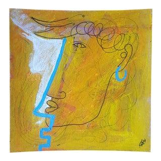 'Blue Line Profile' Acrylic Painting