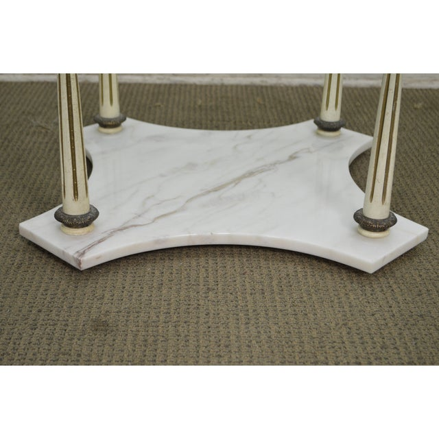 Coffee Table Bases For Marble Tops: Hollywood Regency Round Glass Top Marble Base Coffee Table