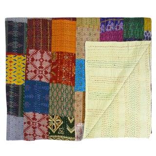 Silk Kantha Quilt | Bedspread