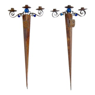Anthony Critchlow Bronze Wall Sconces - a Pair