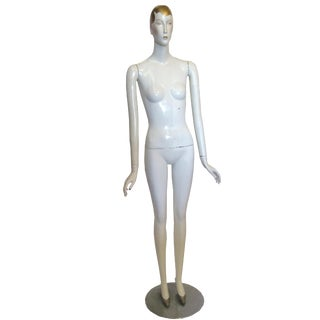 Vintage Mannequin With Gold Accents & Metal Base