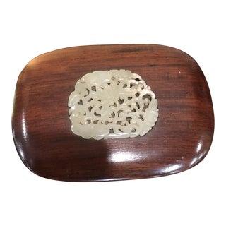 Antique Chinese Rosewood & White Jade Box