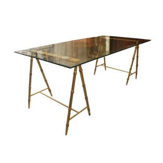 Glass & Gold Iron Faux Bamboo Dining Table