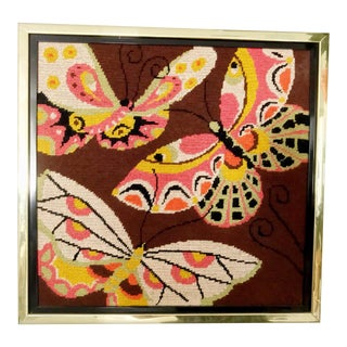 Framed Mid-Century Needlepoint Butterflies