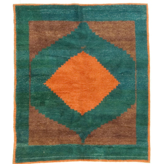 "Green, Brown & Orange Gabbeh Rug - 6'5"" X 7'2"" - Image 1 of 2"