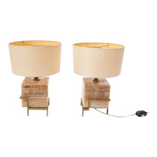 Pair of Marble and Brass Contemporary Table Lamps