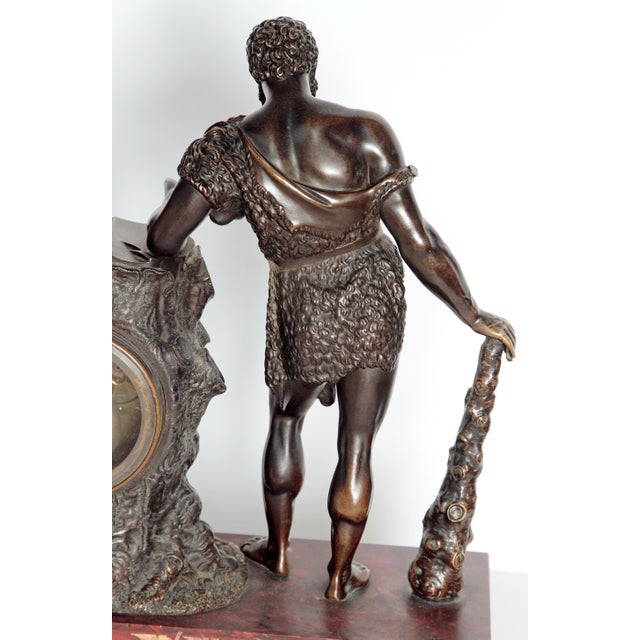 """French Empire """"Farnese Hercules"""" Mantel Clock attributed to Claude Galle - Image 3 of 11"""