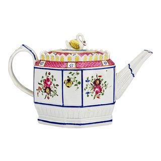 Creamware Teapot with Swan Finial