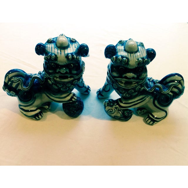 Blue & White Porcelain Foo Dogs - A Pair - Image 2 of 7
