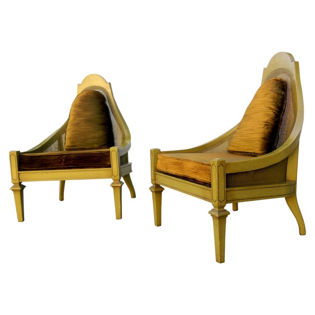 Mid-Century Green Cane Slipper Chairs - A Pair - Image 1 of 10