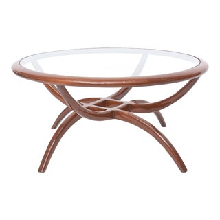 Italian Modern Mahogany and Glass Top Table, Carlo de Carli