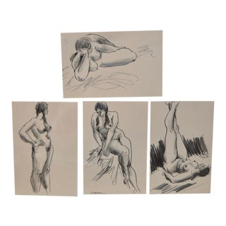 c.1960s Edward Hagedorn Figural Nude Drawings -Set of 4