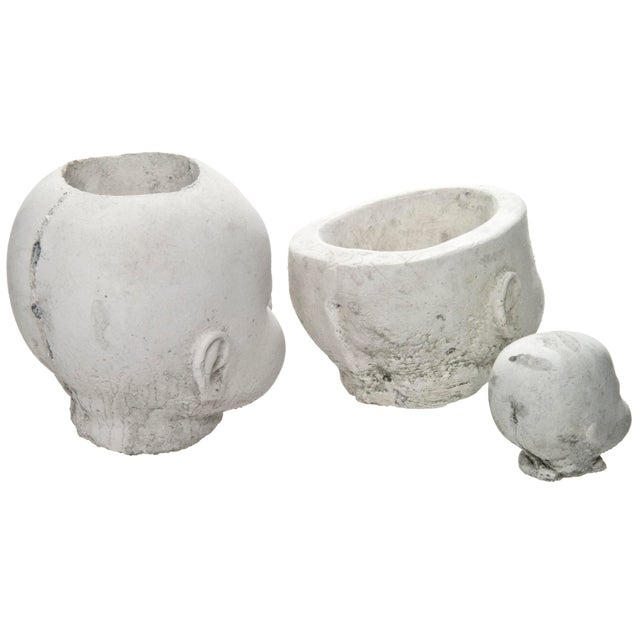 Cast concrete doll head planters set of 3 chairish - Casting concrete planters ...