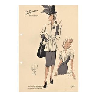 French Fashion Design Lithograph