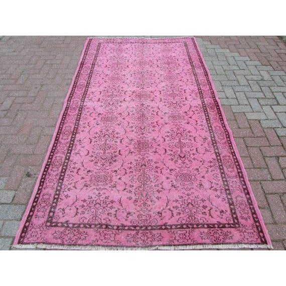 Image of Overdyed Pink Rug - 5' x 8'8""
