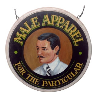 Hand Painted 1930s Mens Apparel Trade Sign