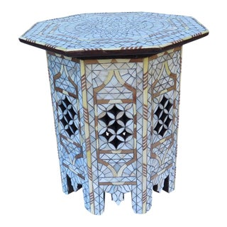 White Mother of Pearl Inlay Side Table Tabouret Moorish