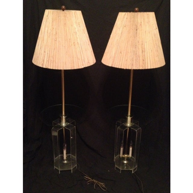 Mid-Century Lucite Glass Table Lamps - A Pair - Image 2 of 7