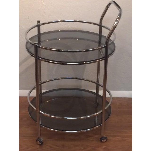 Vintage Milo Baughman Style Round Bar Cart - Image 3 of 5