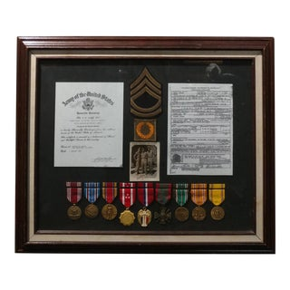 WWII Original Framed US Veteran Medals Collection