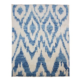 """Hand Knotted Ikat Blue & White Wool Rug by Aara Rugs Inc. - 7'5"""" X 9'10"""""""