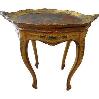 Early 19th C. Cabriole Leg Side Table With Tray