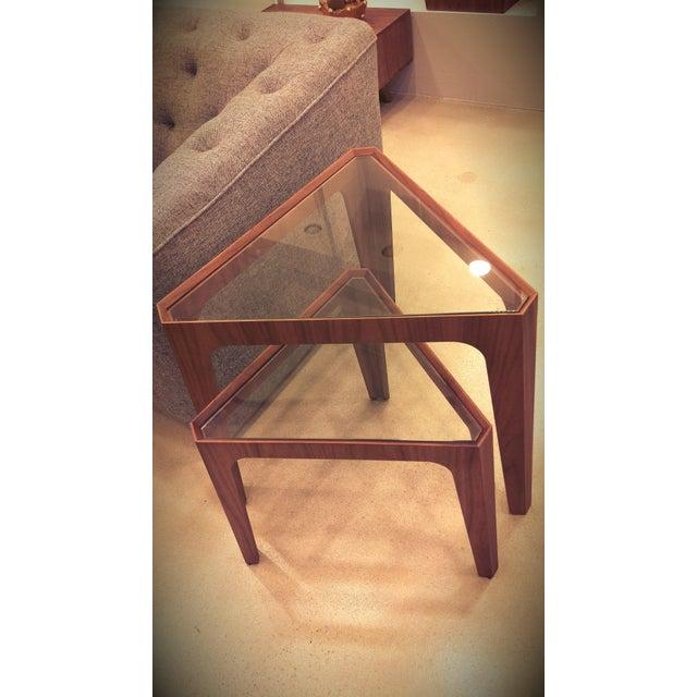 Image of Walnut Triangular Nesting Side Tables